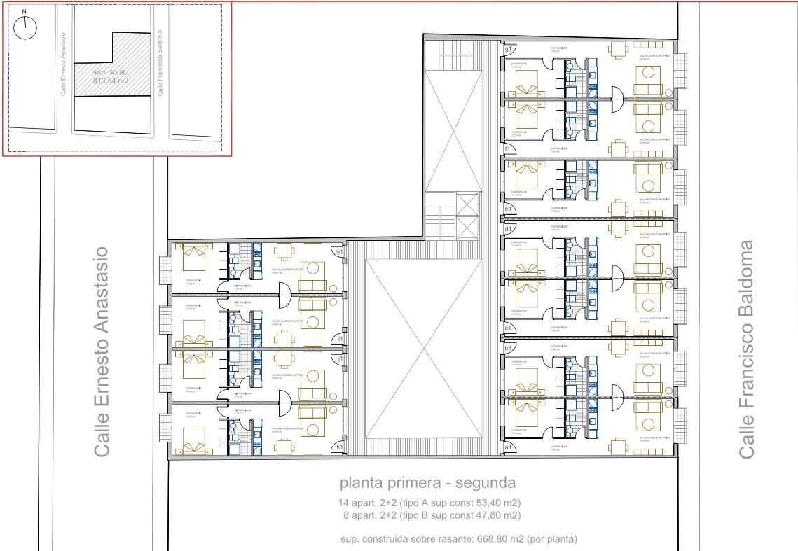 Plano edificio alojamiento estudiantes Poblats Marítims Bitor